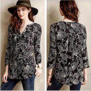 Anthropologie Maeve Pintucked Bird Blouse Size 4